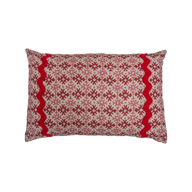 Cushions Hemant Red & Pink Cushion with Red Wavy Trim Penny Morrison accessory, braiding, COLOUR_PINK, cushion, geometric, hemant, linen, long, pattern, pillow, pink, quirky, rectangle, red, soft, statement, trim, unique
