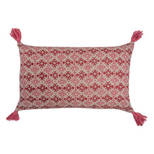 Cushions Hemant Pink/Red & Zig-Zag Carnation Leaf Cushion with Pink Tassels Penny Morrison accessory, carnation, COLOUR_PINK, cushion, geometric, green, hemant, linen, lines, long, pattern, pillow, pink, quirky, rectangle, red, soft, statement, stripes, tassels, unique, Zig Zag