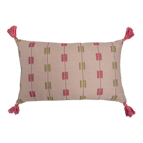Cushions Hemant Red/Pink & Zig-Zag Carnation Leaf Cushion with Pink Tassels Penny Morrison accessory, carnation, COLOUR_PINK, cushion, geometric, green, hemant, linen, lines, long, pattern, pillow, pink, quirky, rectangle, red, soft, statement, stripes, tassels, unique, Zig Zag