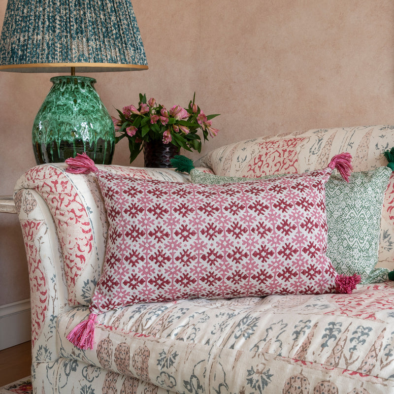 Penny-Morrison-Hemant-Red-and-Pink-Zig-Zag-Carnation-Leaf-Linen-Cushion-with-Pink-Tassels-rectangle-pillow-soft-accessory-long-linen-geometric-pattern-unique-quirky-statement-stripes-lines