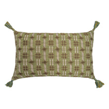 Cushions Inca Check Green & Indira Stripe Chocolate Cushion with Green and Yellow Tassels Penny Morrison accessory, beige, bohemian, brown, check, chocolate, COLOUR_BROWN, COLOUR_GREEN, cushion, earthy, ethnic, green, linen, long, neutral, PATTERN_CHECK, pillow, rectangle, soft, tartan, tassels