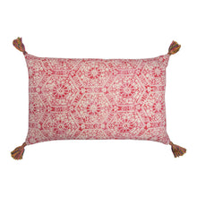 Cushions Inca Check Red & Nankeeng Pink Cushion with Technicolour Tassels Penny Morrison accessory, bold, bright, check, COLOUR_PINK, colourful, cushion, Inca, Indian, linen, long, pattern, PATTERN_CHECK, pillow, pink, rectangle, red, soft, statement, tassels