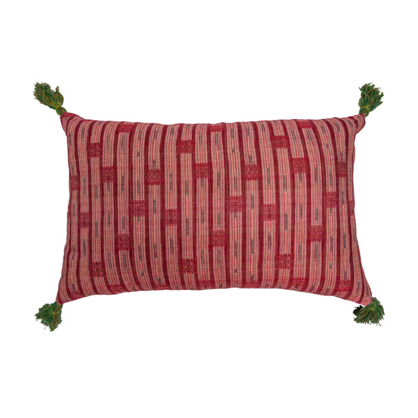 Cushions Inca Vertical Stripe Red & Nankeeng Pink Cushion with Green and Yellow Tassels Penny Morrison accessory, bold, bright, check, COLOUR_PINK, colourful, cushion, green, Inca, Indian, linen, long, pattern, PATTERN_STRIPES, pillow, pink, rectangle, red, soft, statement, tassels