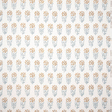 Fabrics Kalindi Blue/Yellow Penny Morrison COLOUR_YELLOW, DESIGNER_PENNY MORRISON, FLOWERS, leaf, NATURE, PATTERN_FLORAL, REPEATED, ROWS