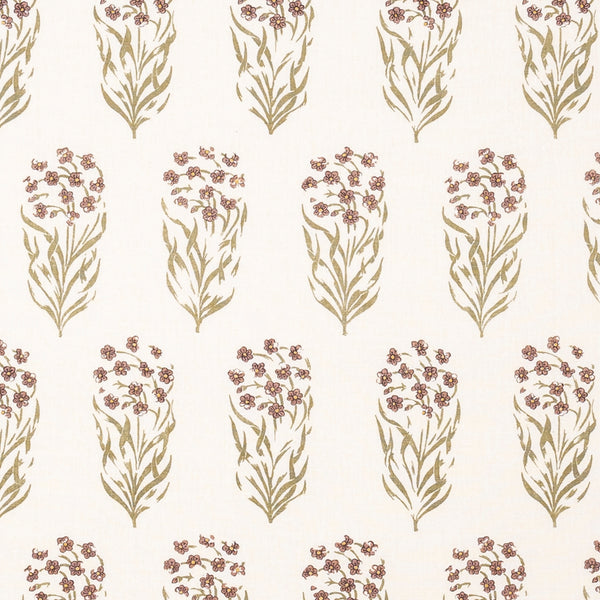 Fabrics Kalindi Green/Sienna Penny Morrison COLOUR_BROWN, COLOUR_PURPLE, DESIGNER_PENNY MORRISON, FLOWERS, leaf, NATURE, PATTERN_FLORAL, REPEATED, ROWS