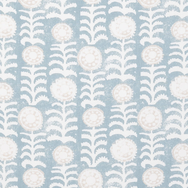 Fabrics Killi Blue Penny Morrison COLOUR_BLUE, DESIGNER_PENNY MORRISON, Floral, LINES, NATURAL, PATTERN_ABSTRACT, PATTERN_FLORAL, PRINT, VERTICAL