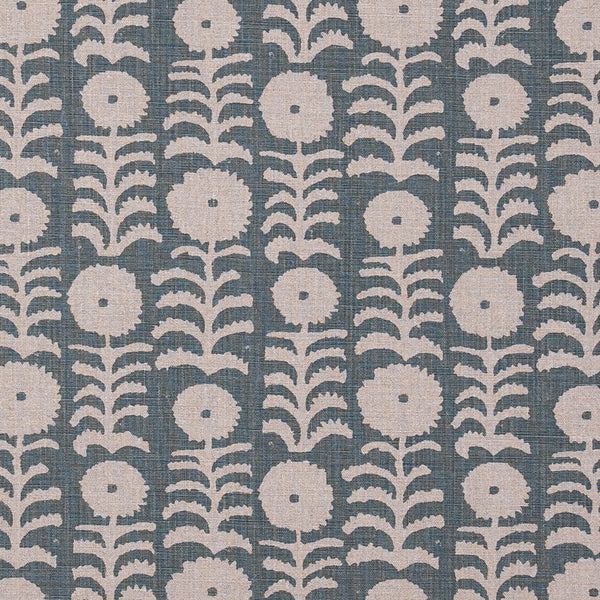 Fabrics Killi Duck Egg on Natural Penny Morrison COLOUR_BLUE, DESIGNER_PENNY MORRISON, Floral, LINES, NATURAL, PATTERN_ABSTRACT, PATTERN_FLORAL, PRINT, VERTICAL