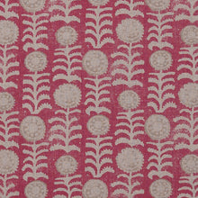 Fabrics Killi Red/Beige on Natural Penny Morrison COLOUR_RED, DESIGNER_PENNY MORRISON, Floral, LINES, NATURAL, PATTERN_ABSTRACT, PATTERN_FLORAL, PRINT, VERTICAL