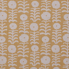 Fabrics Killi Yellow on Natural Penny Morrison COLOUR_YELLOW, DESIGNER_PENNY MORRISON, Floral, LINES, NATURAL, PATTERN_ABSTRACT, PATTERN_FLORAL, PRINT, VERTICAL