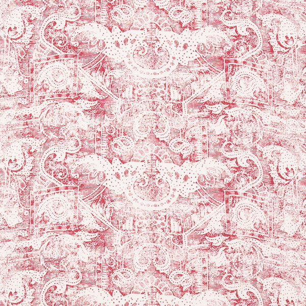 Fabrics Kilta Red Penny Morrison COLOUR_RED, DESIGNER_SARAH VANRENEN, FADED, GOLD, NATURAL, PATTERN_ABSTRACT, PATTERN_GEOMETRIC, PRINT, RUSTIC, VERTICAL, VINTAGE