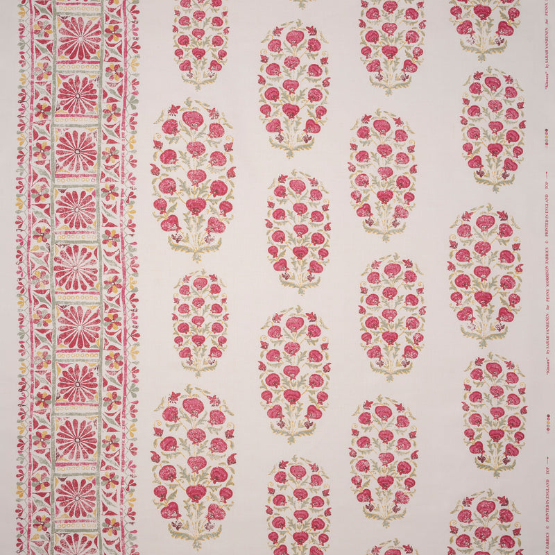Fabrics Kinaara Pink/Green Penny Morrison COLOUR_PINK, COLOUR_RED, DESIGNER_SARAH VANRENEN, flower, garden, LEAVES, NATURE, PATTERN_FLORAL, REPEATED, ROSE