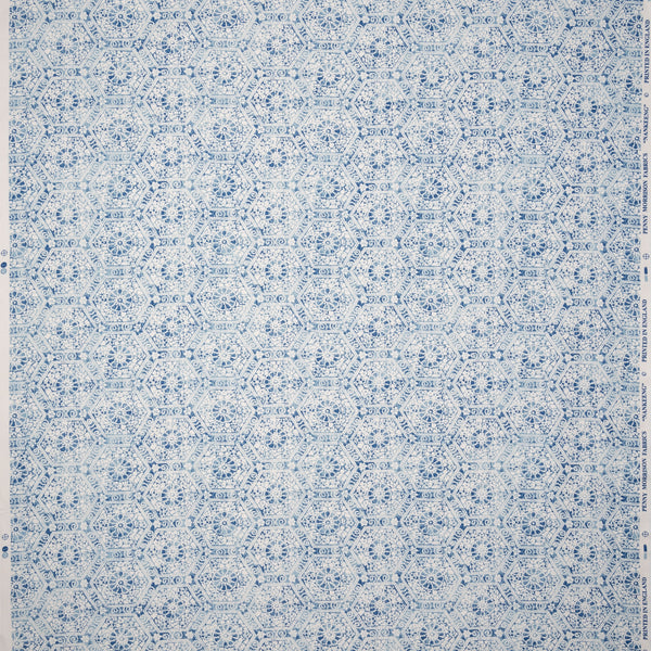 Fabrics Nankeeng Blue Penny Morrison COLOUR_BLUE, DESIGNER_PENNY MORRISON, DETAILS, ethnic, HEXAGON, PATTERN_ABSTRACT, PATTERN_GEOMETRIC, RUSTIC, SHAPES, TESSELATE, VINTAGE, WORN