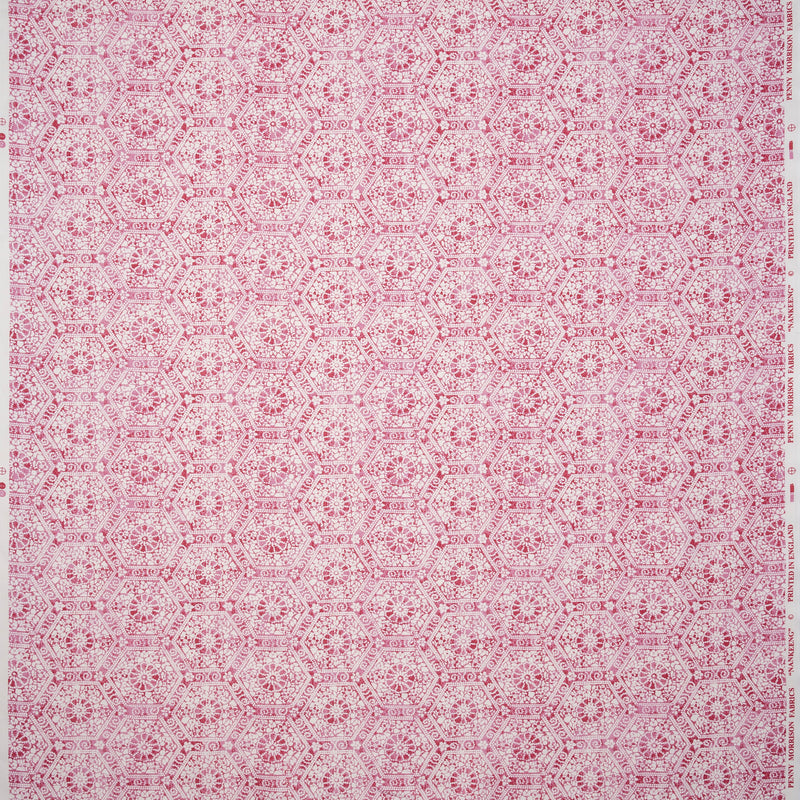 Fabrics Nankeeng Pink Penny Morrison COLOUR_PINK, DESIGNER_PENNY MORRISON, DETAILS, ethnic, HEXAGON, PATTERN_ABSTRACT, PATTERN_GEOMETRIC, RUSTIC, SHAPES, TESSELATE, VINTAGE, WORN