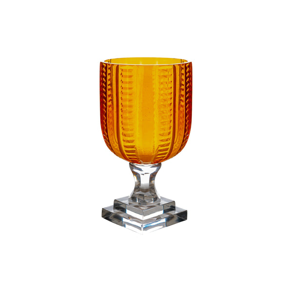 Hurricane Lamp Orange Triangle Garland Glass Hurricane Lamp Penny Morrison Amber, Candle Holder, COLOUR_ORANGE, Dining, Glass, Goblet, Hurricane Lamp, Medium, Set Up, Table Accessory, Vase