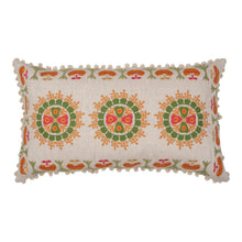Cushions Orange and Green Embroidered Folk Cushion with White Pom-Poms Penny Morrison ACCESSORY, COLOUR, COLOUR_GREEN, COLOURFUL, CUSHION, FEATHER DOWN, FLORAL, GREEN, ORANGE, PATTERN, PATTERN_FLORAL, PILLOW, POM-POMS, QUIRKY, RECTANGLE, SOFT, STATEMENT, UNIQUE