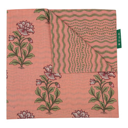 Tableware Peach Large Flower Reversible Napkin Penny Morrison COLOUR_PINK, Floral, floral mot, flower, GREEN, Green and Pink, NAPKIN, NAPKINS, PATTERN_FLORAL, Peachy, PINK, STRIPES, TABLE LINEN, WIGGLE