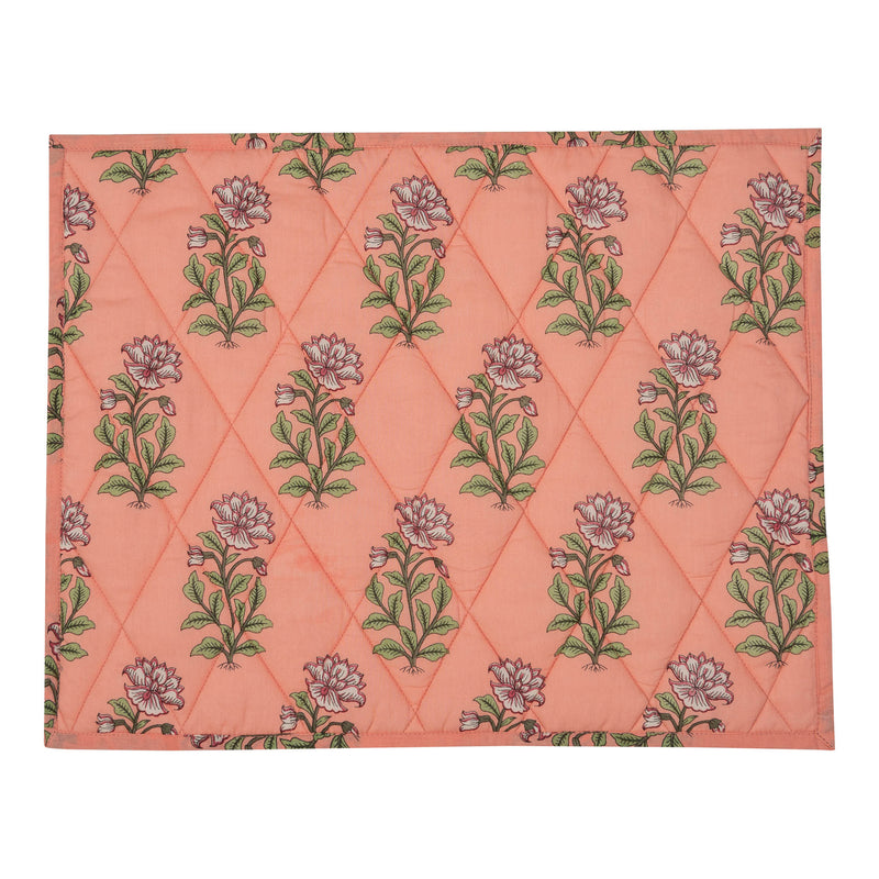 Penny-Morrison-Peach-Large-Flower-Reversible-Table-Mat-Floral-Pretty-Whimsical-Cute-Cloth-Table-accessory-patterned-quilted