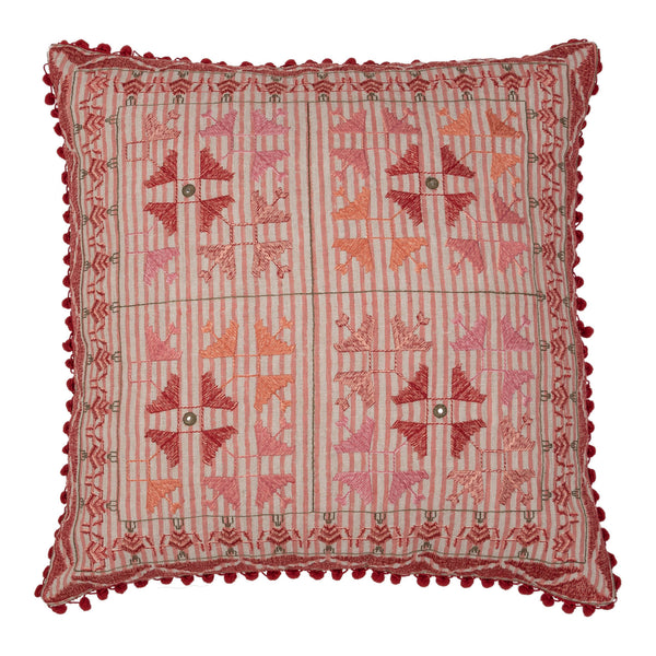 Penny-Morrison-Pink-Embroidered-Square-Cushion-with-Red Pom-Poms-Quirky-Unique-Whimsical-Bohemian