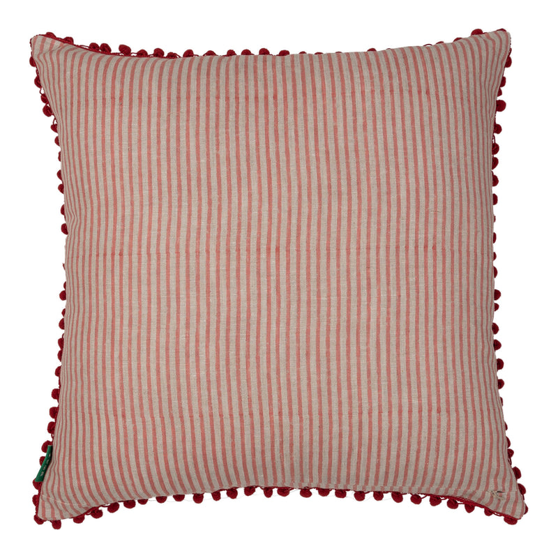 Cushions Pink Embroidered Square Cushion with Red Pom-Poms Penny Morrison ACCESSORY, COLOUR, COLOUR_PINK, COLOURFUL, CUSHION, FEATHER DOWN, GEOMETRIC, PATTERN, PATTERN_GEOMETRIC, PILLOW, PINK, POM-POMS, QUIRKY, SOFT, SQUARE, STATEMENT, UNIQUE