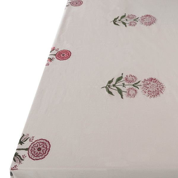 Tableware Pink Flower with Green Border Tablecloth Penny Morrison BEAUTIFUL, CLASSIC, COLOUR_GREEN, COLOUR_PINK, PATTERN_FLORAL, PRETTY, TABLE LINEN, TABLECLOTH, TABLEWARE, TRADITIONAL