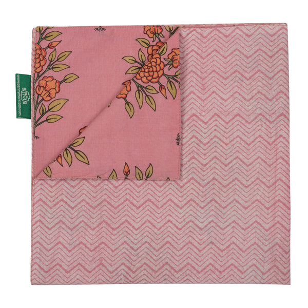 Tableware Pink Large Flower Reversible Napkin Penny Morrison COLOUR_PINK, Floral, Floral Motif, Large Flower, NAPKIN, NAPKINS, Orange Flower, Pale Pink, PATTERN_FLORAL, PINK, TABLE LINEN, Zig Zag