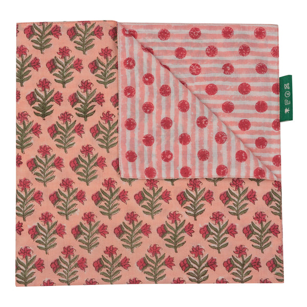 Tableware Peach Small Flower Reversible Napkin Penny Morrison COLOUR_PINK, Floral, Floral Motif, NAPKIN, NAPKINS, PATTERN_FLORAL, Peach, PINK, REVERSIBLE, Spotty, STRIPES, TABLE LINEN