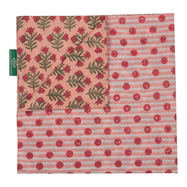 Penny-Morrison-Pink-Small-Flower-Reversible-Napkin-Floral-Pretty-Whimsical-Cute-Cloth-Table-accessory-patterned