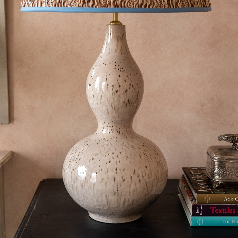 Lamps Pink Speckled Double Gourd Ceramic Lamp Base Penny Morrison BASE STYLE_DOUBLE GOURD, COLOUR_BROWN, COLOUR_PINK, ELEGANT, LAMP BASE, LAMPS, LIGHTING, NEUTRAL, PATTERN, PATTERNED, PRETTY, QUIRKY, SIMPLE, SPECKLED, STATEMENT, UNIQUE