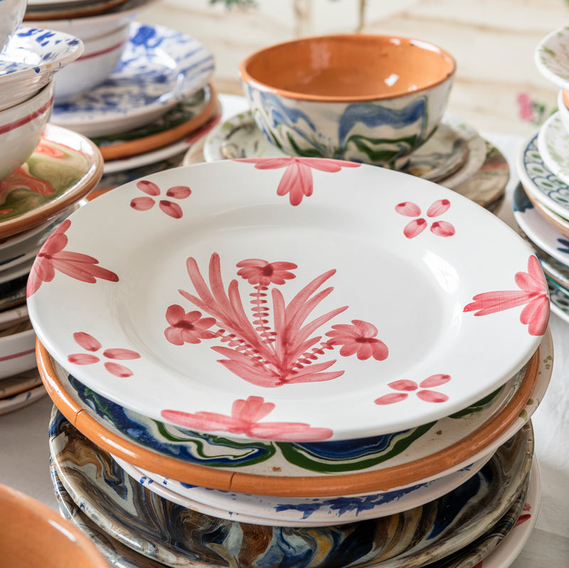 Tableware Pink Summer Flower Ceramic Large Plate Penny Morrison ceramics, COLOUR_PINK, crockery, dining, fancy, floral, flower, motif, PATTERN_FLORAL, pink, place setting, plate, pottery, pretty, sets, side plate, small, Tableware