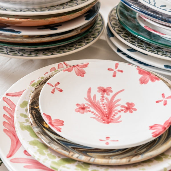 Tableware Pink Summer Flower Ceramic Small Plate Penny Morrison ceramics, COLOUR_PINK, crockery, dining, fancy, floral, flower, motif, PATTERN_FLORAL, pink, place setting, plate, pottery, pretty, sets, side plate, small, Tableware, TYPE_PLATES