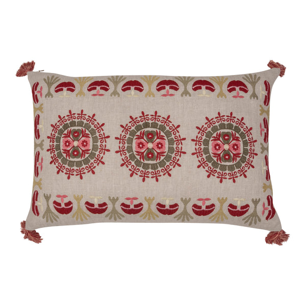 Penny-Morrison-Pink-and-Green-Folk-Embroidered-Cushion-with-Red-Tassels-Quirky-Unique-Whimsical-Bohemian