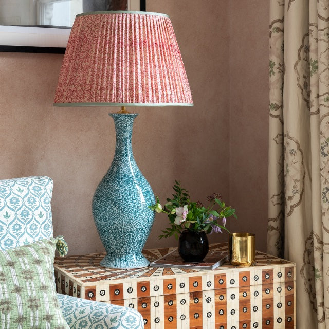 Lampshade Pink and White Floral Pleated Silk Lampshade with Mint Trim Penny Morrison COLOUR_PINK, Empire, Gathered, Lamp, Lampshade, Patterned, Pink, Pleated, Shade, Straight, Trim