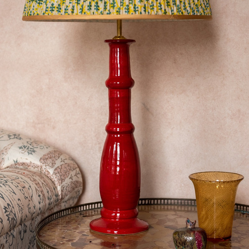 Lamps Red Candlestick Ceramic Lamp Base Penny Morrison BASE STYLE_CANDLESTICK, BOLD, CERAMIC, COLOUR_RED, COLOURFUL, COLUMN, LAMP BASE, LAMPS, LIGHTING, STATEMENT, TRADITIONAL, UNIQUE