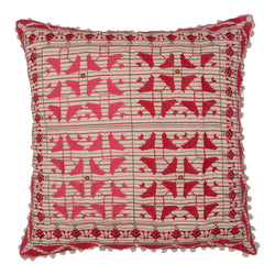 Cushions Red Embroidered Square Cushion with White Pom-Poms Penny Morrison ACCESSORY, COLOUR, COLOUR_PINK, COLOURFUL, CUSHION, FEATHER DOWN, garden party, GEOMETRIC, HOT PINK, PATTERN, PATTERN_GEOMETRIC, PILLOW, POM-POMS, QUIRKY, SOFT, SQUARE, STATEMENT, UNIQUE