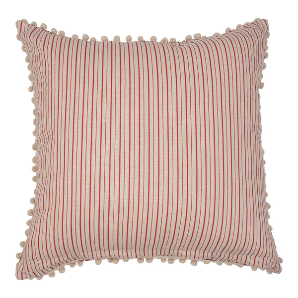 Cushions Red Embroidered Square Cushion with White Pom-Poms Penny Morrison ACCESSORY, COLOUR, COLOUR_PINK, COLOURFUL, CUSHION, FEATHER DOWN, GEOMETRIC, HOT PINK, PATTERN, PATTERN_GEOMETRIC, PILLOW, POM-POMS, QUIRKY, SOFT, SQUARE, STATEMENT, UNIQUE