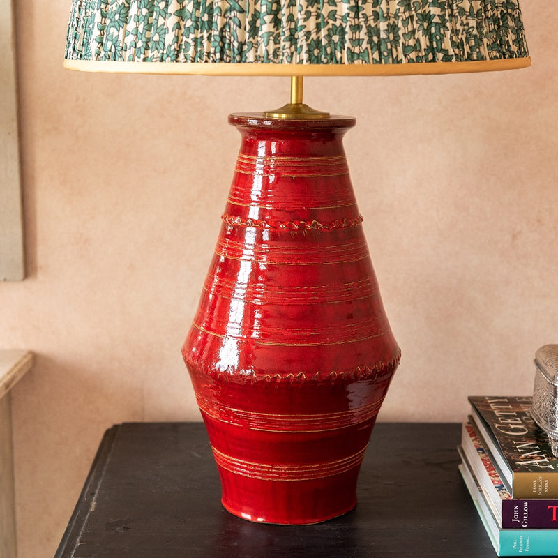 Lamps Red Ribbed Vase Ceramic Lamp Base Penny Morrison BASE STYLE_RIBBED VASE, BLOCK, BOLD, BRIGHT, CERAMIC, COLOUR_RED, COLOURFUL, LAMP BASE, LAMPS, LIGHTING, PLAIN, RED, SIMPLE, STATEMENT, UNIQUE, VASE