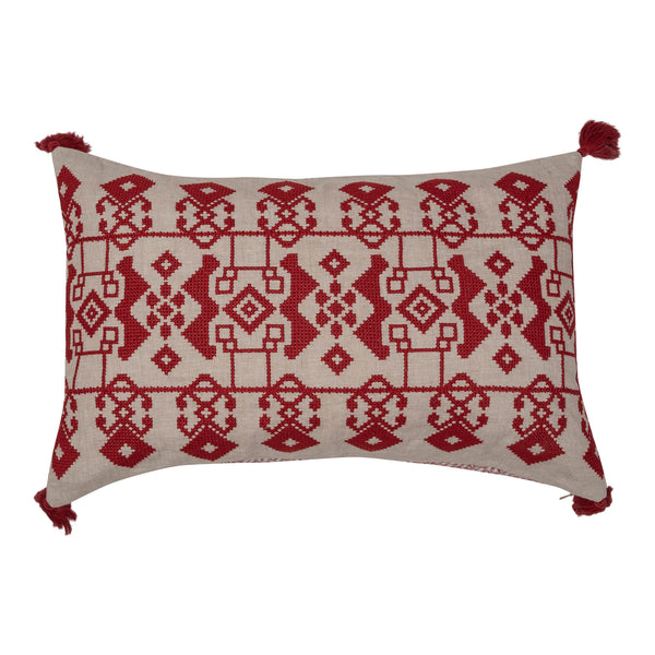 Cushions Red on White Azteca Embroidered Cushion with Red Tassels Penny Morrison ACCESSORY, COLOUR, COLOUR_PINK, COLOURFUL, CUSHION, FEATHER DOWN, GEOMETRIC, PATTERN, PATTERN_GEOMETRIC, PILLOW, QUIRKY, RECTANGLE, RED, SOFT, STATEMENT, TASSELS, UNIQUE