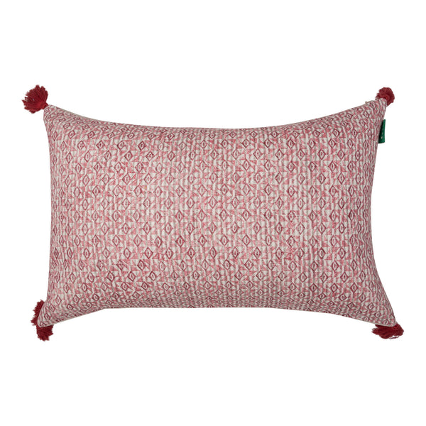 Penny-Morrison-Red-on-White-Azteca-Embroidered-Cushion-with-Red-Tassels-Geometric-Quirky-Unique-Statement-Bold