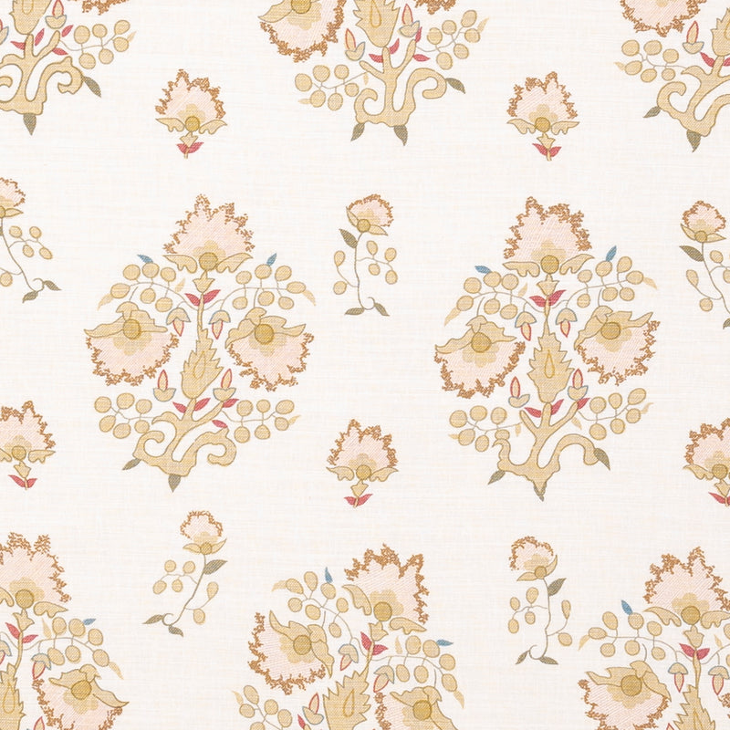 Fabrics Rumeli Penny Morrison COLOUR_BLUE, COLOUR_ORANGE, COLOUR_YELLOW, DESIGNER_PENNY MORRISON, FLOWERS, leaf, ORNAMENTAL, PASTEL, PATTERN_FLORAL, SIMPLE, SUBTLE, TURKISH