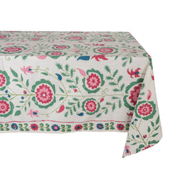 Tableware Simla Pink and Green Tablecloth Penny Morrison COLOUR_GREEN, COLOUR_PINK, COLOURFUL, flower, garden, garden party, PATTERN_FLORAL, PRETTY, QUIRKY, TABLE LINEN, TABLECLOTH, Tableware
