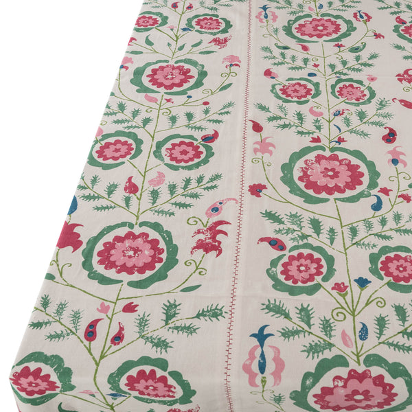 Tableware Simla Pink and Green Tablecloth Penny Morrison COLOUR_GREEN, COLOUR_PINK, COLOURFUL, flower, garden, PATTERN_FLORAL, PRETTY, QUIRKY, TABLE LINEN, TABLECLOTH, Tableware