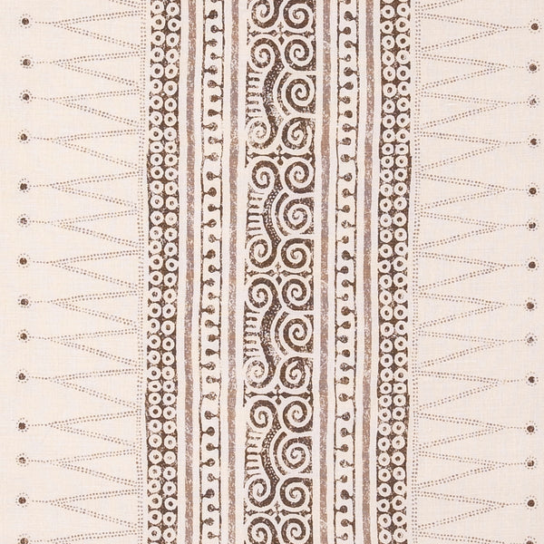 Fabrics Sunda Brown Penny Morrison AZTEC, BEIGE, COLOUR_BROWN, DESIGNER_SARAH VANRENEN, detail, LINES, MESOAMERICAN, NEUTRAL, PANELS, PATTERN_GEOMETRIC, PATTERN_STRIPES, SIMPLE, STRIPES