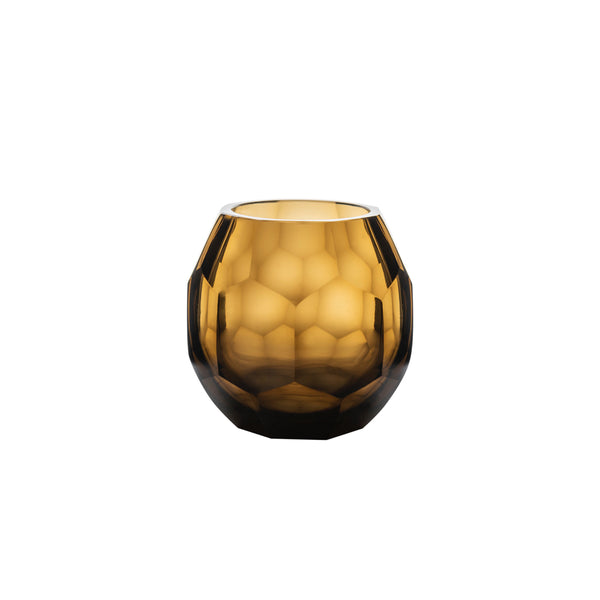 Hurricane Lamp Smoke Honeycomb Glass Medium Hurricane Lamp Penny Morrison Candle Holder, COLOUR_BROWN, Dining, Glass, Hurricane Lamp, Set Up, Small, Smoke, Table Accessory, Vase
