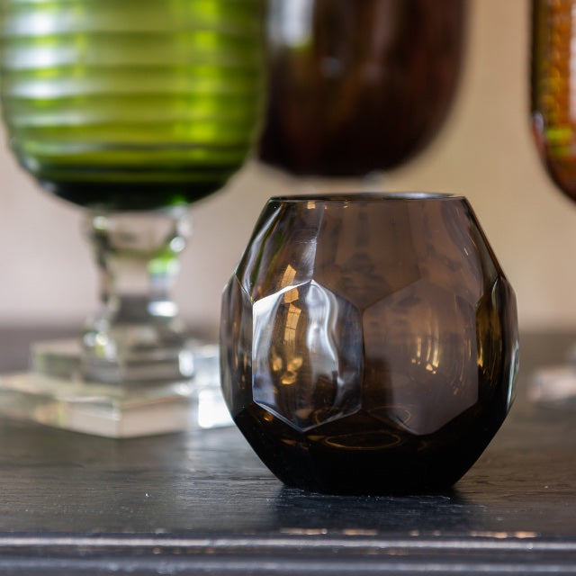 Penny-Morrison-Smoke-Honeycomb-Glass-Medium-Hurricane-Lamp-Brown-Small-Accessory-Candle-Holder-Vase-Dining-Table