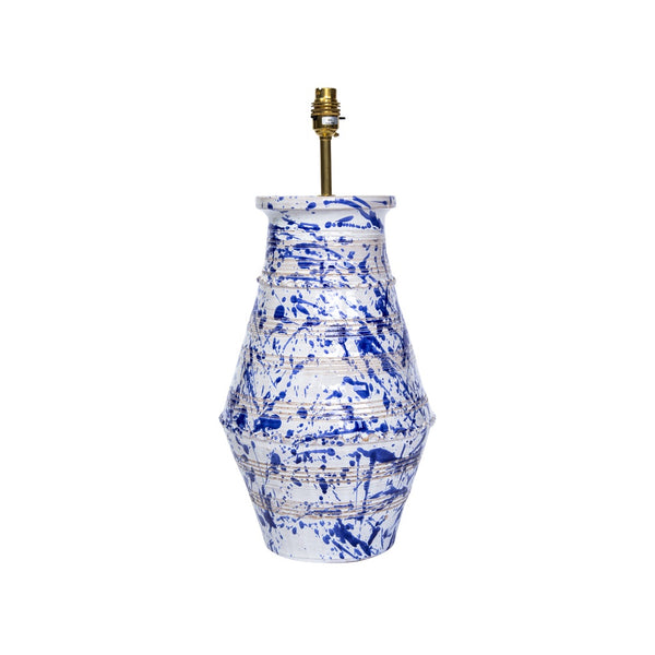 Lamps Splashed Blue on White Ribbed Vase Ceramic Lamp Base Penny Morrison ARTY, BASE STYLE_RIBBED VASE, CERAMIC, COLOUR_BLUE, LAMP BASE, LAMPS, LIGHTING, PAINTED, PATTERN, PATTERNED, QUIRKY, SPLASH, SPLATTER, STATEMENT, UNIQUE, VASE, WHITE