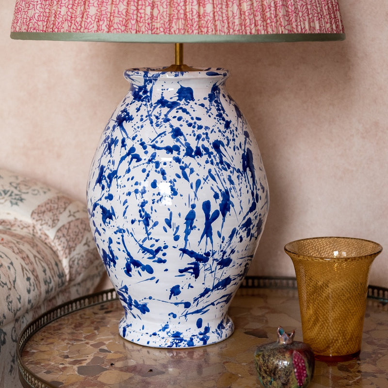 Lamps Splashed Blue on White Rounded Urn Ceramic Lamp Base Penny Morrison ARTY, BASE STYLE_ROUNDED URN, CERAMIC, CHUNKY, COLOUR_BLUE, LAMP BASE, LAMPS, LIGHTING, PAINTED, PATTERN, PATTERNED, QUIRKY, SPLASH, SPLATTER, STATEMENT, UNIQUE, WHITE