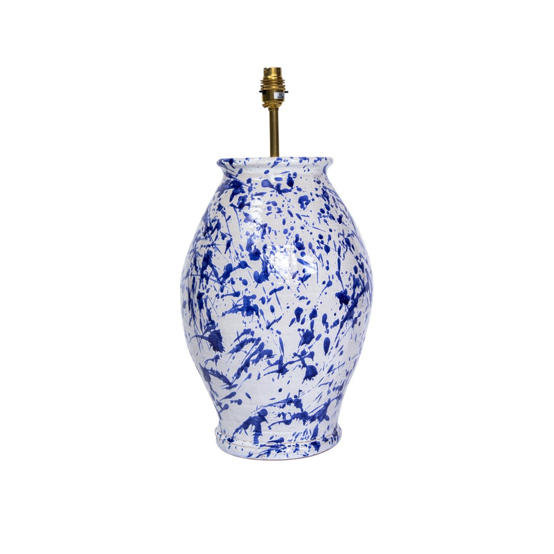 Penny-Morrison-Splashed-Blue-on-White-Rounded-Urn-Ceramic-Lamp-Base-Quirky-Unique-Colourful-Hand-Painted