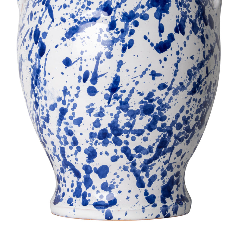 Penny-Morrison-Splashed-Blue-on-White-Rounded-Urn-with-Handles-Ceramic-Lamp-Base-Quirky-Unique-Colourful-Hand-Painted-Bespoke-Artisanal