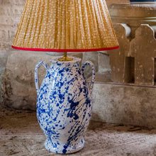 Lamps Splashed Blue on White Rounded Urn with Handles Ceramic Lamp Base Penny Morrison BASE STYLE_ROUNDED URN, BLUE AND WHITE, BOLD, CERAMIC, COLOUR_BLUE, HANDLES, LAMP, LAMP BASE, LAMPS, LIGHTING, QUIRKY, SPLASHED BLUE, SPLATTER, STATEMENT, UNIQUE, URN, WHITE
