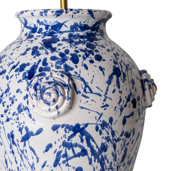 Penny-Morrison-Splashed-Blue-on-White-Rounded-Urn-with-Knots-Ceramic-Lamp-Base-Quirky-Unique-Colourful-Hand-Painted-Bespoke-Artisanal